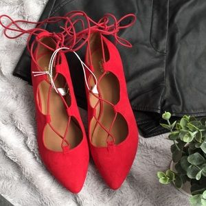 Red lace up ballet flat